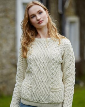 Aran Natural Cable Crew Neck Sweater With Pockets – C4443