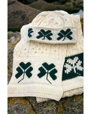 Merino Wool Shamrock Scarf & Hat Set