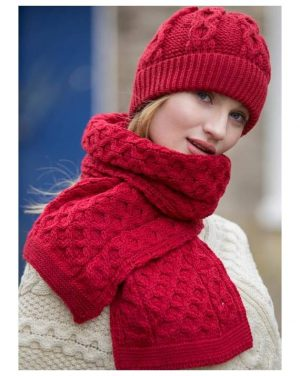 Traditional Aran Red Honeycomb Scarf & Hat