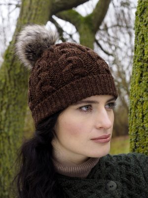 Aran Cable Knit Chestnut Pom Pom Hat x4844