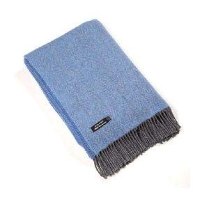 John Hanly Blue Cashmere Blanket 1403