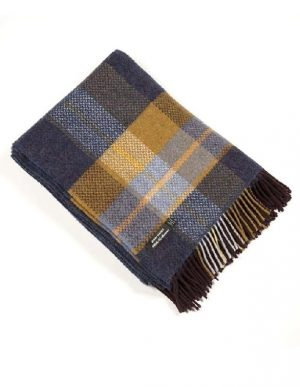 John Hanly Navy Cashmere Irish Blanket Throw