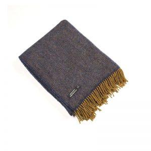John Hanly Cashmere Navy Herringbone Blanket