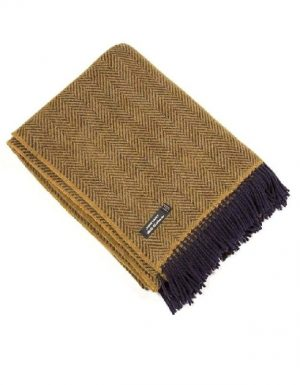 John Hanly Cashmere Mustard Blanket Throw