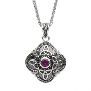 Celtic Tribal Silver Amethyst Trinity Necklace