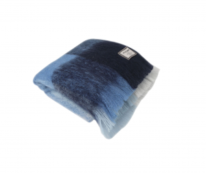 Foxford Blue Check Mohair Blanket