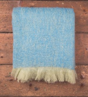 Foxford Lime Blue Mohair Blanket Throw