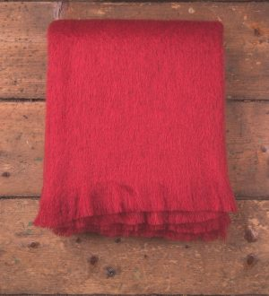 Foxford Tomato Mohair Blanket Throw