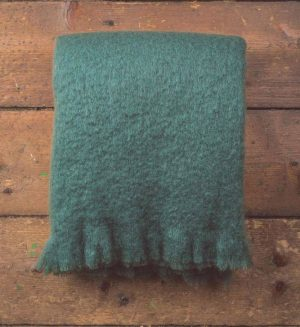 Foxford Studio Green Mohair Blanket Throw