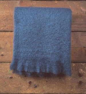 Foxford Hague Blue Mohair Blanket Throw