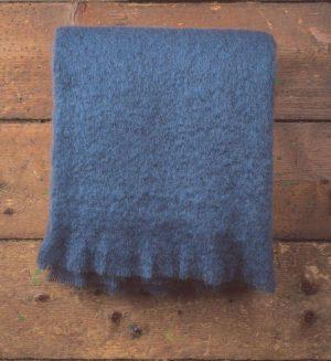 Foxford Hague Blue Mohair Blanket Throw