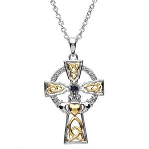 Sapphire Diamond Celtic Trinity Claddagh Cross
