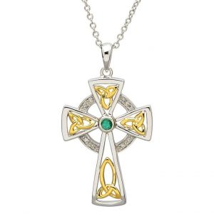 Celtic Trinity Diamond Emerald Cross
