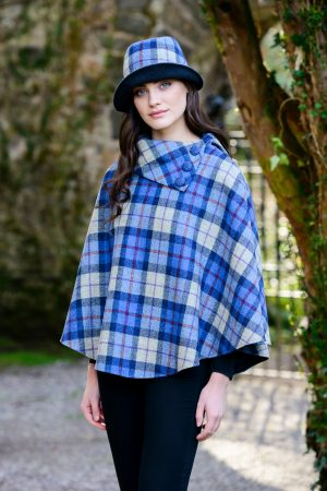 Blue Cream Plaid Mucros Poncho