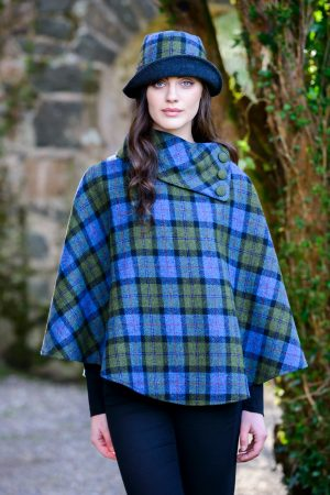 Blue Green Plaid Mucros Poncho