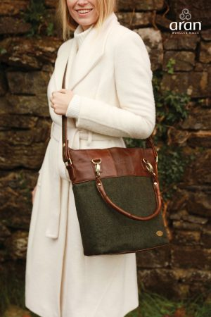 Green Herringbone & Leather Irish Bag