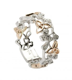 White & Rose Gold Shamrock Trinity Diamond Ring