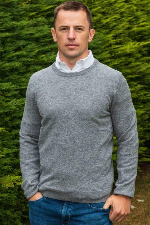 Gray Lambswool Irish Crewneck Sweater