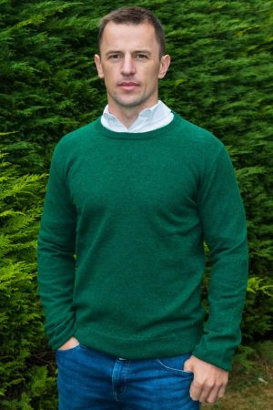 Green Lambswool Irish Crewneck Sweater