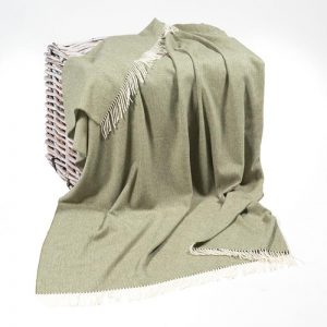 John Hanly Lambswool Silver Grey Reversible Blanket Throw
