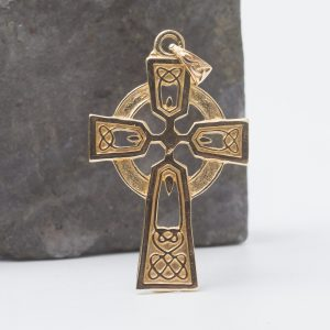 Large Gold Celtic Cross Necklace