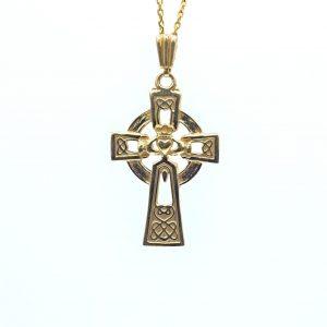 Large Gold Celtic Claddagh Cross