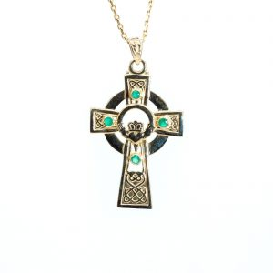 Gold Celtic Emerald Claddagh Cross