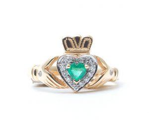 Gold Diamond & Emerald Claddagh Ring