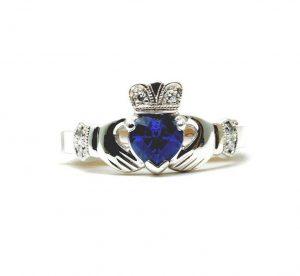 14k White Gold Diamond & Sapphire Claddagh Ring