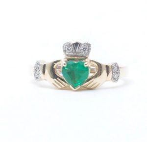 14k Gold Diamond & Emerald Claddagh Ring