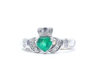 14k White Gold Diamond & Emerald Claddagh Ring