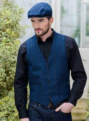 Blue Irish Tweed Waistcoat by Mucros Weavers