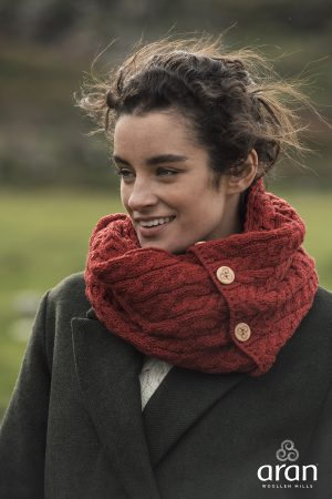 Aran Red Merino Wool Button Snood Scarf