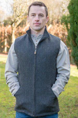 Men's Full Zip Gray Tweed Herringbone Gilet