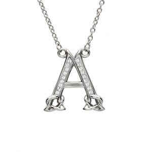 Swarovski Crystal A Celtic Initial Necklace