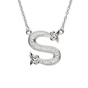 Shanore Swarovski Crystal S Trinity Initial Necklace