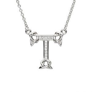 Shanore Swarovski Crystal T Trinity Initial Necklace
