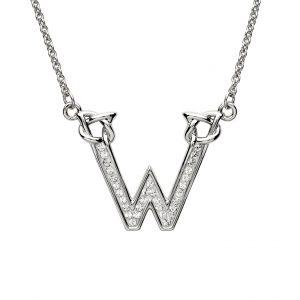 Shanore Swarovski Crystal W Trinity Initial Necklace