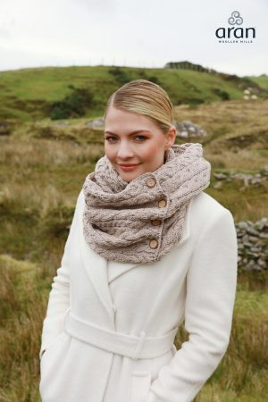 Aran Oatmeal Merino Wool Button Snood Scarf