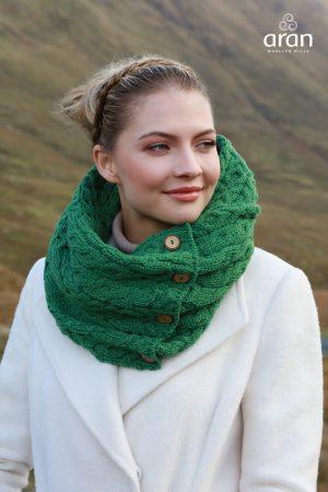 Aran Green Merino Wool Button Snood Scarf