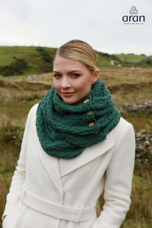 Aran Connemara Green Merino Wool Button Snood Scarf