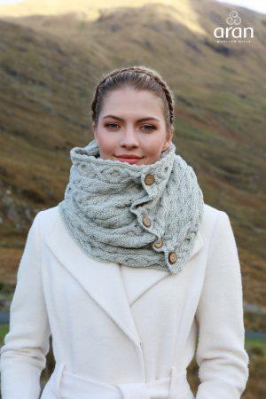 Aran Gray Merino Wool Button Snood Scarf
