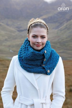 Aran Blue Merino Wool Button Snood Scarf