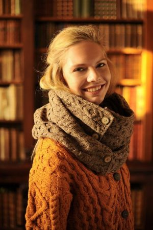 Aran Brown Merino Wool Button Snood Scarf