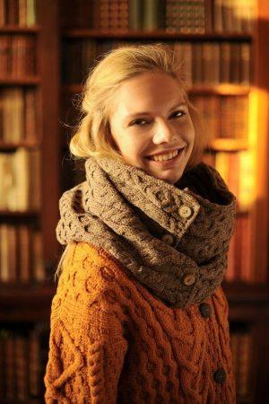 Aran Brown Merino Wool Button Snood Scarf