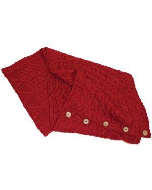 Aran Red Merino Wool Button Snood Scarf