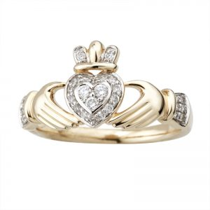 Solvar 14k Gold Diamond Claddagh Ring