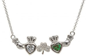 Shanore 2 Birthstone Shamrock Mother Necklace