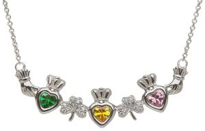 Shanore 3 Birthstone Shamrock Mother Necklace