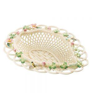 Belleek Classic Wild Rose Leaf Basket